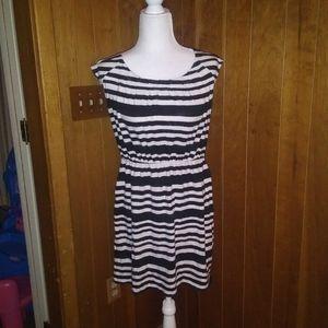 LOFT Striped Petite Mini Dress